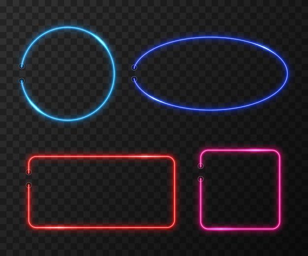 Neonframes die op zwarte transparante achtergrond worden geplaatst