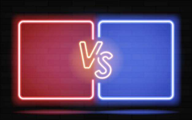 Neonframes voor versus vechtsporten en vechtcompetitie concept in neonstijl voor twee vechtersachtergrond