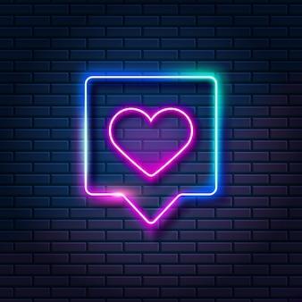 Neonhart in toespraakbel op donkere bakstenen muurachtergrond. gloeiend als symbool in frame, vectorillustratie