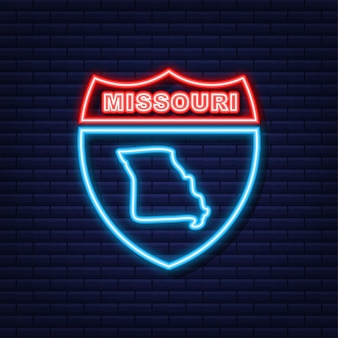 Neonkaart met de staat missouri uit de verenigde staat van amerika. vector illustratie.