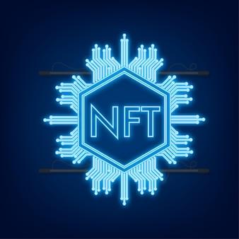 Neonkunstpatroon met nft voor game-achtergrondontwerp. crypto valuta financiën concept. valuta icoon.