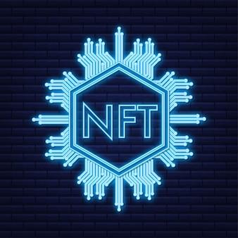 Neonkunstpatroon met nft voor game-achtergrondontwerp crypto-valutafinancieringsconcept