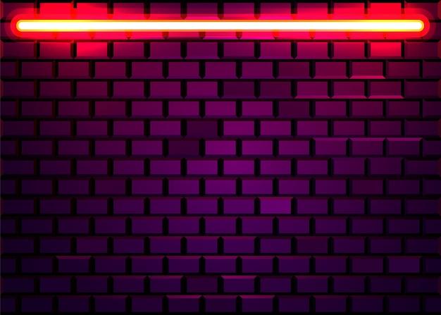 Neonlampframe op bakstenen muurmuur. concept.
