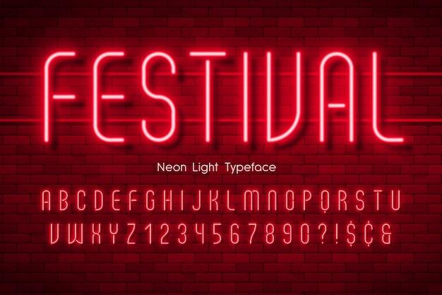 Neonlicht 3d alfabet, extra gloeiend lettertype.