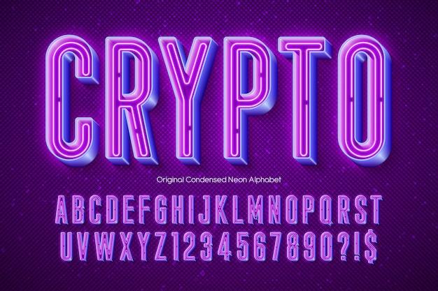 Neonlicht 3d alfabet, extra gloeiend modern type. swatch kleur controle.