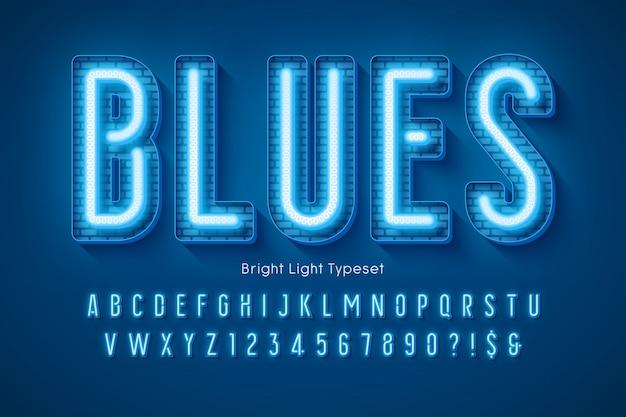 Neonlicht 3d alfabet, extra gloeiend modern type.