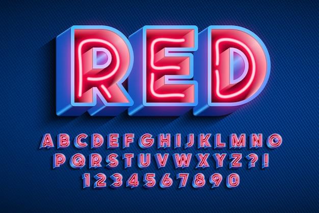 Neonlicht 3d alfabet, extra gloeiend origineel lettertype.