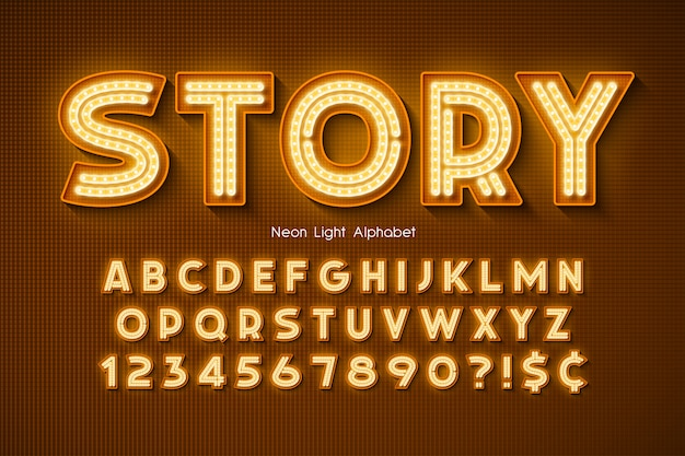 Neonlicht alfabet, extra gloeiend lettertype.