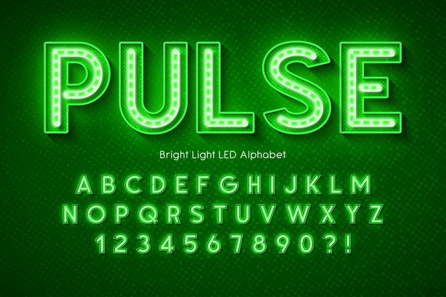 Neonlicht alfabet, extra gloeiend modern lettertype.