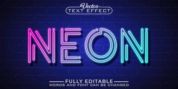 Neonlicht bewerkbare teksteffectsjabloon