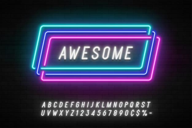 Neonlicht lineaire promotie lint banner, prijskaartje, korting