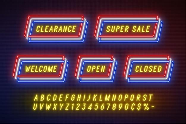 Neonlicht lineaire promotie lint banner, prijskaartje