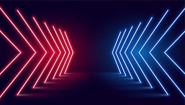 Neonlicht pijlrichting in perspectief