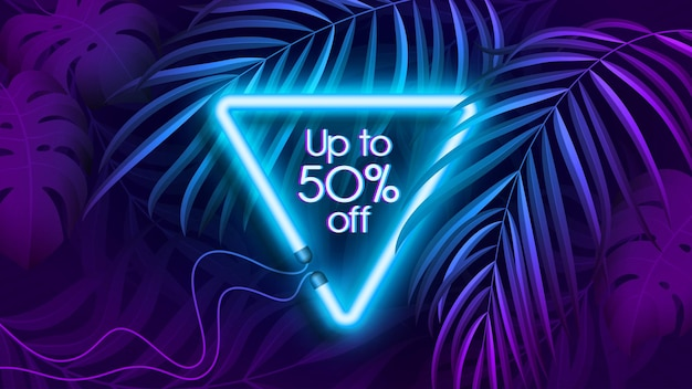 Neonlicht tropische banner in fluorescerende kleur