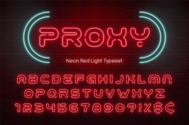 Neonlichtalfabet, futuristisch extra gloeiend lettertype