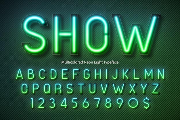 Neonlichtalfabet, veelkleurig extra gloeiend lettertype
