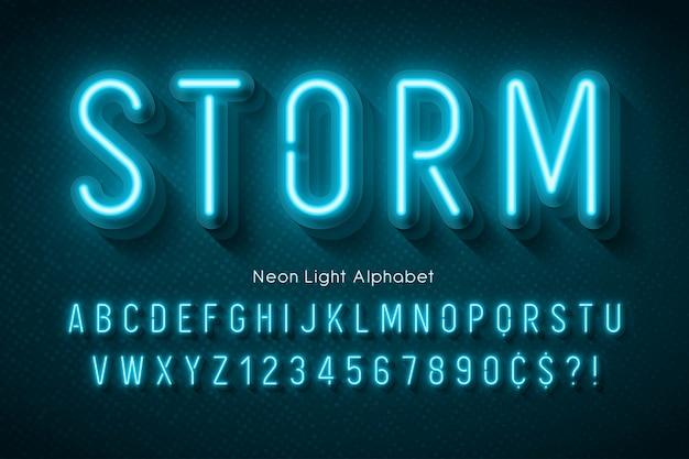 Neonlichtalfabet, veelkleurig extra gloeiend lettertype.