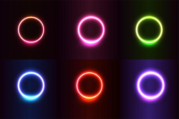 Neonlichteffect vormt een kleurrijke realistische cirkel
