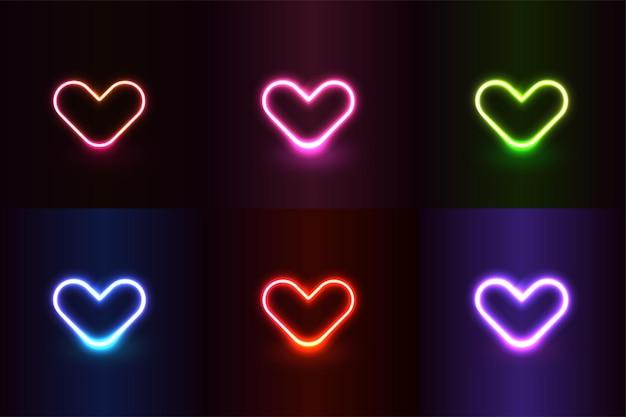 Neonlichteffect vormt kleurrijke realistische harten