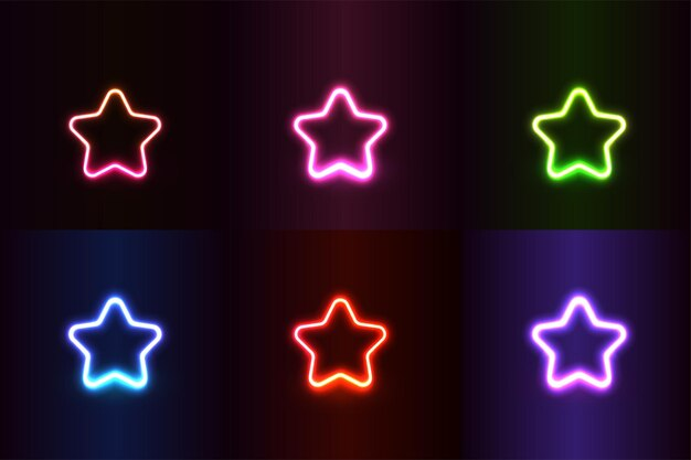 Neonlichteffect vormt kleurrijke realistische sterren