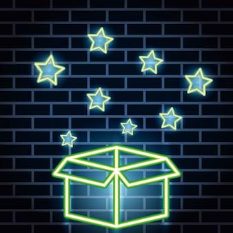 Neonlichten label met kartonnen doos