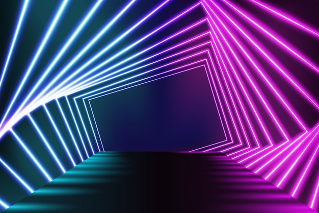 Neonlichten podium vloer achtergrond