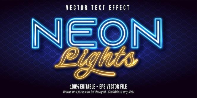 Neonlichten tekst, signage stijl bewerkbaar teksteffect
