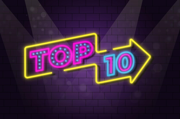 Neonlichten top 10 illustratie