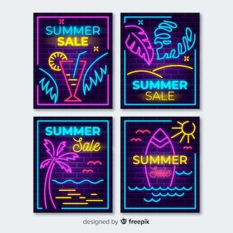 Neonlichten zomer verkoop banners