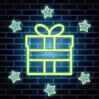 Neonlichtlabel met geschenkdoos