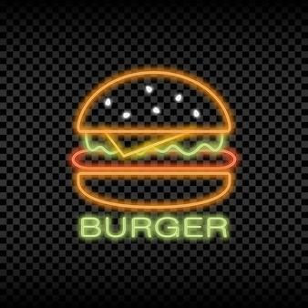 Neonlichtteken van burgercafé gloeiend en glanzend helder uithangbord van fastfood-logo