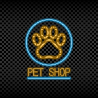 Neonlichtteken van dierenwinkel gloeiend en glanzend helder uithangbord voor winkellogo met poot van dier