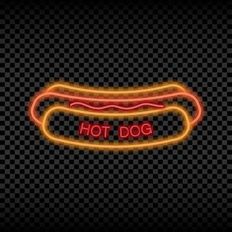 Neonlichtteken van hotdogcafé gloeiend en glanzend helder uithangbord van straatvoedsellogo