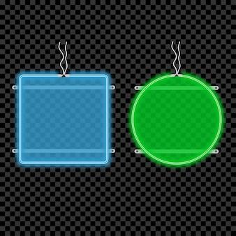 Neonlichtuithangbordset gloeiend en helder reclamebord met ruimte voor tekst