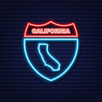 Neonpictogramkaart die de staat californië van de verenigde staat van amerika toont. vector illustratie.