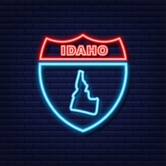 Neonpictogramkaart met de staat idaho uit de verenigde staat van amerika. vector illustratie.