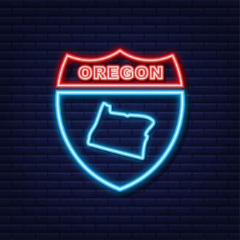 Neonpictogramkaart van de staat oregon uit de verenigde staat van amerika. vector illustratie.