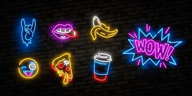 Neonpictogrammen die in de grappige stijl van de de jaren 80-jaren 90-pop-art worden geplaatst.