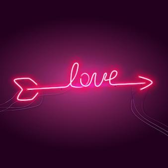 Neonpijl in de vorm van de inscriptie love.