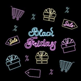 Neonreclame voor black friday-uitverkoop met geschenkdozen en winkelwagentjes.