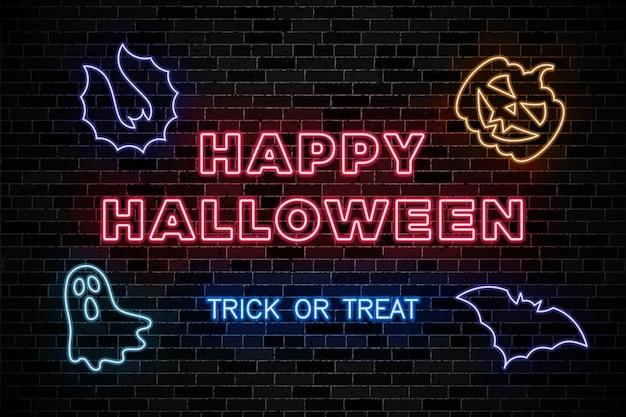 Neonreclames voor halloween-feest op donkere bakstenen muur