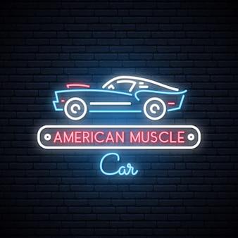 Neonsilhouet van klassieke amerikaanse spierauto.