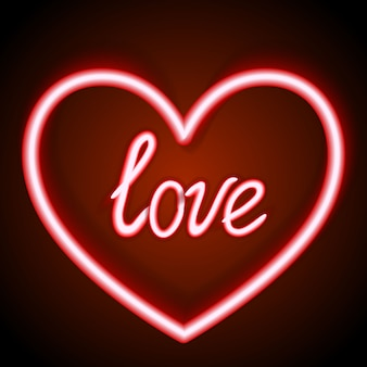 Neonteken, het woordliefde met hart op donkere achtergrond