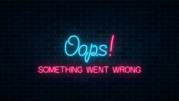 Neonteken van 404-foutpagina met grappige tekst op donkere bakstenen muurachtergrond. neon verbindingsfout website-pagina.