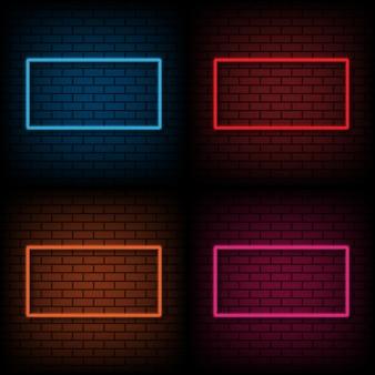 Neonteken van frame op bakstenen muurachtergrond