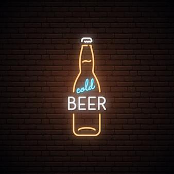 Neonteken van koud bier.
