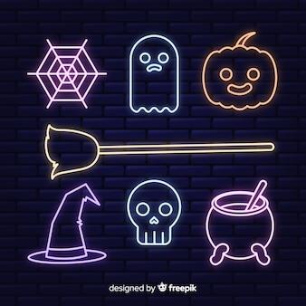 Neontekeninzameling voor halloween
