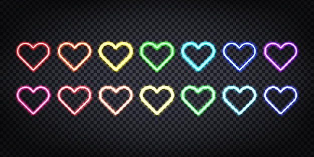 Neontekens van kleurrijke hartenachtergrond