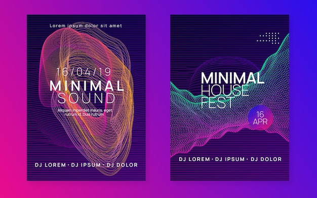 Neonvlieger. stoere discotheek brochure set. dynamische vloeiende vorm en lijn. neon flyer trance-evenement. techno dj-feest. electro-dansmuziek. elektronisch geluid. clubfeest poster.