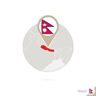 Nepal kaart en vlag in cirkel. kaart van nepal, nepal vlag pin. kaart van nepal in de stijl van de wereld. vectorillustratie.
